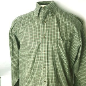 Tommy Hilfiger Green Plaid Mens Long Sleeve Button